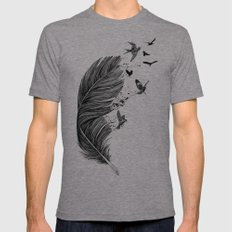 Feather Birds BW Mens Fitted Tee Tri-Grey SMALL