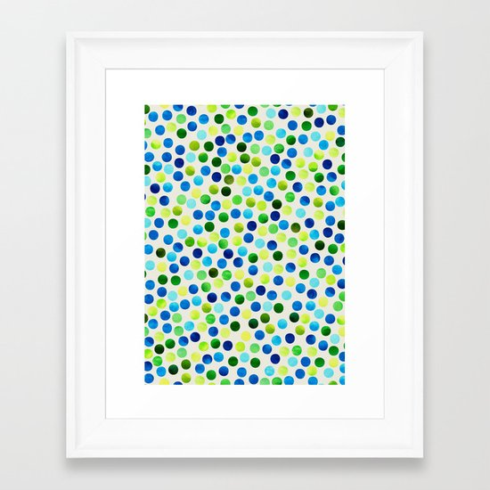 Watercolor Dots_Aqua by Jacqueline and Garima Framed Art Print