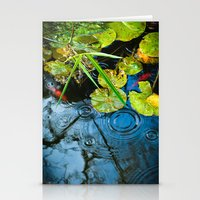 Lily pads, ripples and gold fish Stationery Cards