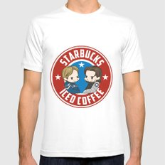Starbucks - Steve Rogers and Bucky Barnes Iced Coffee  Mens Fitted Tee White SMALL