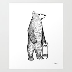 Skate Bear Art Print