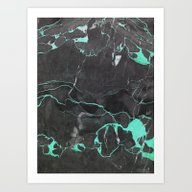 Art Print featuring Grey And Blue Marble by Cafelab