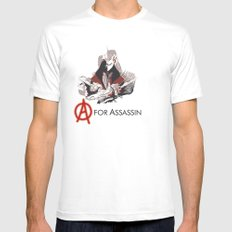 A for Assassin White Mens Fitted Tee SMALL