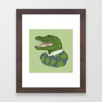 Argyle Crocodile Framed Art Print
