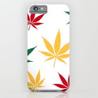 iPhone & iPod Case featuring Rasta color leaves on white  by GGDUB