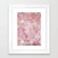 Rhythm of the Seasons - coral pink & grey Framed Art Print