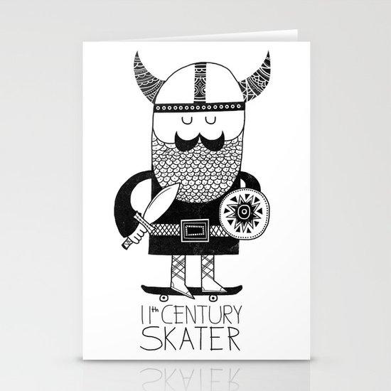 11th Century Skater - White Stationery Card