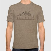 Linear Madrid Skyline Design Mens Fitted Tee Tri-Coffee SMALL