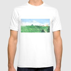 They're building on the hill White SMALL Mens Fitted Tee