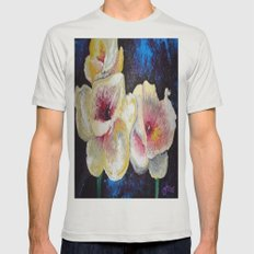 Flowers Here Mens Fitted Tee Silver SMALL