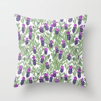 April Blooms(lavender) Throw Pillow