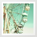 Ferris Wheel on Mint Sky Art Print