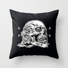 Skullflower Black and White  Throw Pillow