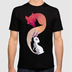 Rabbit and a Fox SMALL Mens Fitted Tee Black