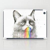 Grumpy Rainbow Cat Watercolor iPad Case