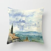 A View of Lacoste, France Throw Pillow