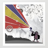 Audio Gorilla Art Print