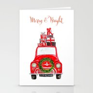 Red Christmas Car - Whit… Stationery Cards