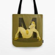 Pony Monogram Letter M Tote Bag