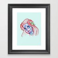 Sugar Skull Mermaid Framed Art Print