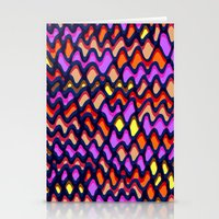 Painted and digital wibbly pattern Stationery Cards