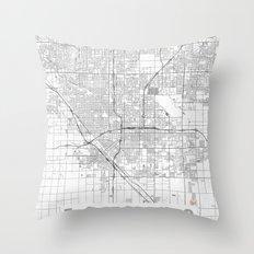 Fresno Map Line Throw Pillow
