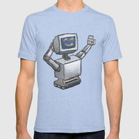 Happy Bot Mens Fitted Tee Tri-Blue SMALL