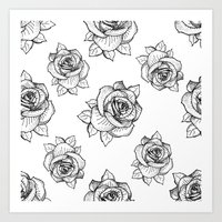 Rose Line Pattern Art Print