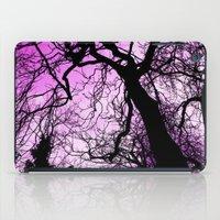 Purple evening moon through the trees iPad Case