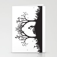 Edgar Allan Poe Black and White Illustrated Quote  Stationery Cards