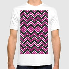 Pink Black Tribal Chevron Mens Fitted Tee White SMALL
