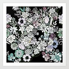 Colorful black detailed floral pattern Art Print