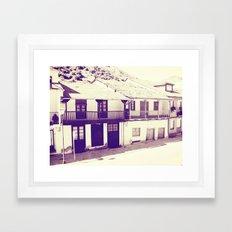 Old Spanish houses black and white vintage Framed Art Print