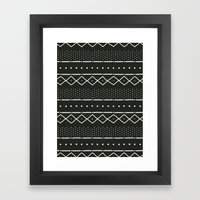 Mudcloth In Bone On Blac… Framed Art Print