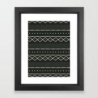 Mudcloth in bone on black Framed Art Print