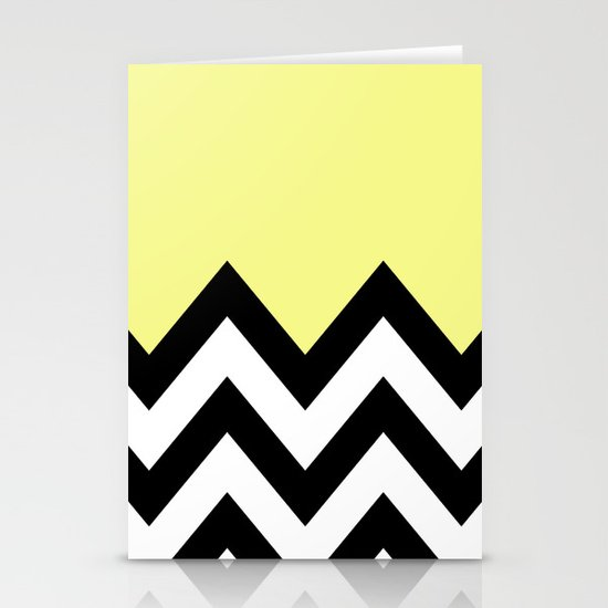 YELLOW COLORBLOCK CHEVRON Stationery Card
