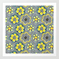 Yellow Circle Flowers Art Print