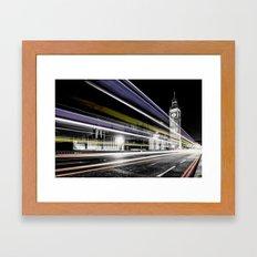 Big Ben light trails Framed Art Print