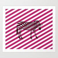 Nerd Zebra (Pink) Art Print