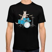 Cat Playing Drums - Blue Mens Fitted Tee Black SMALL
