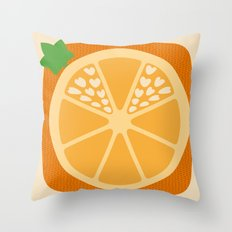 Orange Heart Throw Pillow
