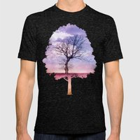 ATMOSPHERIC TREE | Early Spring Mens Fitted Tee Tri-Black SMALL