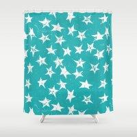 Linocut Stars - Verdigris & White Shower Curtain