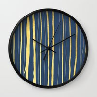 Vertical Living Navy and Gold Wall Clock