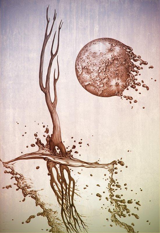 Moon and tides Art Print