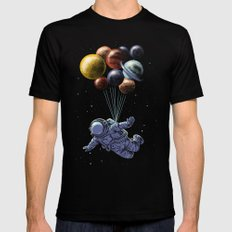 Space travel MEDIUM Mens Fitted Tee Black