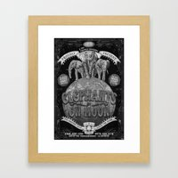 Elephants On Moon (monoc… Framed Art Print