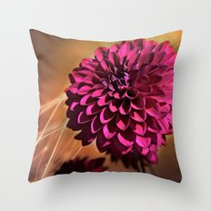 Red dahlia light effect Throw Pillow