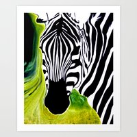 Green Black And White Ze… Art Print