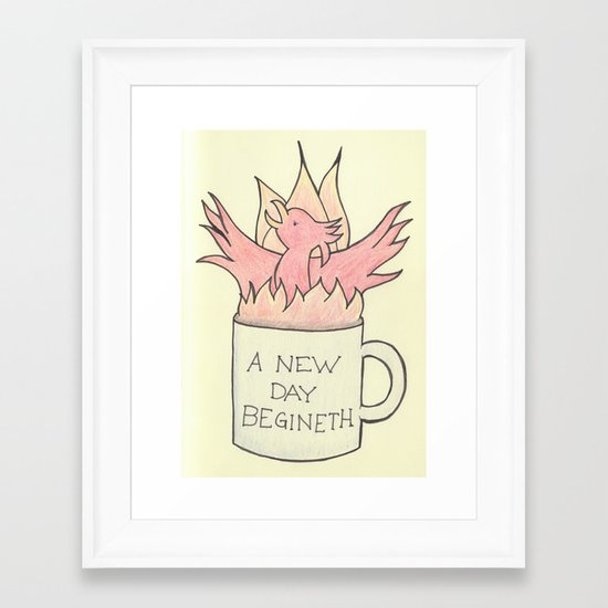 Coffee Phoenix: A new day begineth! Framed Art Print